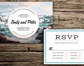 Waves Paint by Number Wedding Invitation and RSVP // Coastal Wedding Invitation Oregon Wedding Invitation Retro Seaside Invite Blue Grey
