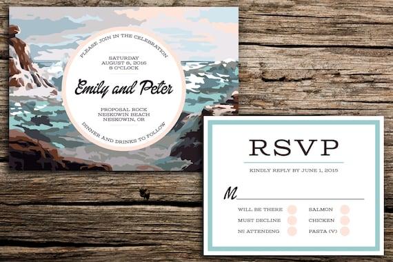 Waves paint by number wedding invitation and rsvp coastal stopboris Choice Image
