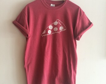 Pizza T Shirt, Food Shirt, Screen Printed Shirt, Foodie Gift, Clothing Gift