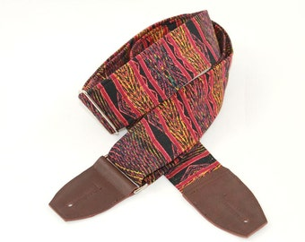 Aztec Red Tribal Guitar Strap - Choose Your Leather Ends