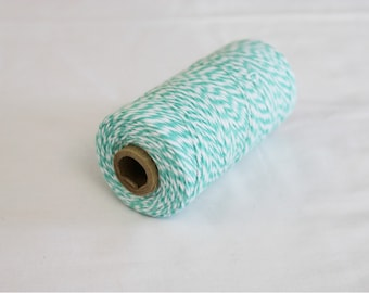 Teal and White Bakers Twine - 10 yards