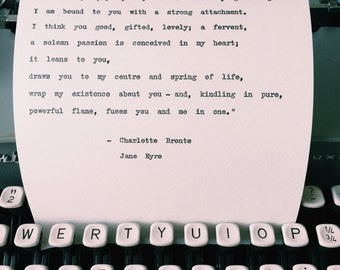 I have found you quote/ Jane Eyre Typewriter Quote/ Charlotte Bronte/ true love, love quote print, valentines gift idea
