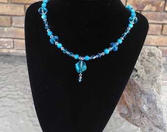 Aqua Blue Swarovski Crystal and Shell Necklace