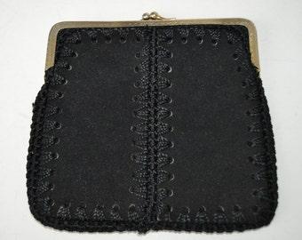 black leather purse hand made .vendimia case