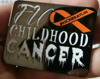 Fu** Childhood Cancer charity hat Pin
