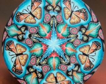 Large Polymer Clay Monarch Butterfly Kaleidoscope Cane -'Ripple' (27dd)