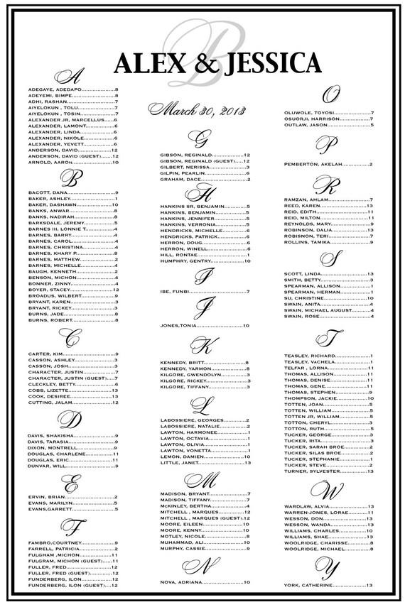 Wedding Seating Chart Wedding Seating Reception Template