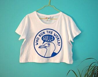 Girls Run the World Crop Top, Beyonce T-shirt, Seagull Tee, Women's Cropped T-shirt, Cute Cropped Top, Blue Crop Tee, Girl T-shirt