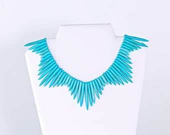 Turquoise Spike Collar Necklace