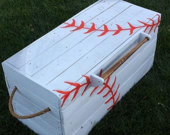 Custom Toy Box-Baseball Toy Box-Baseball Theme-Large Custom Toy Box-Boys Toy Box-Hope Chest