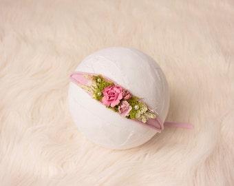 Newborn Headband Tieback, Pink Baby Headband, Pink Tieback, Stretchy Tieback, Photo Prop, Baby Headband