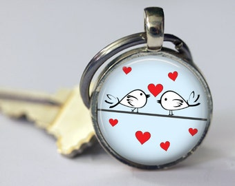 Tweet Love Pendant, Necklace or Keychain - Choice of 4 Colors - Bird Necklace, Bird Key Chain, Love, Hearts