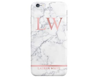 Personalised Name initials White Rose Gold Marble Phone Case Cover for Apple iPhone 5 6 6s 7 8 Plus & Samsung Galaxy Customized Monogram