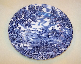 Vintage Plate 7 Inch Side Plate Dark Blue and White The Hunter by Myott Hand Engraved Permanent Colours Made in England Vintage Dinnerware