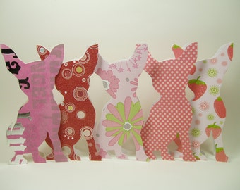 Pink Chihuahua Cards, Hand Carved Chihuahua Cards