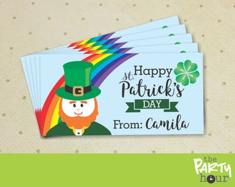 Personalized St Patrick's Day Treat Bags Toppers - printable St Patricks Day treat bags toppers – St Patrick's Favor Candy Bag Toppers
