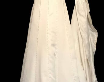 90s White with Sivler and Rhinestone Beaded Wedding Gown        LV0052