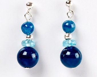 Teal - earrings of apatite and sterling silver