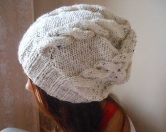 Hand Knit Cable Slouchy Beanie Hat Acrylic Oatmeal