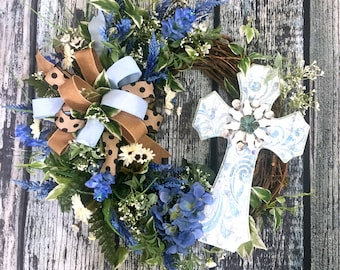 Cross Wreath, Spring Wreath for Front Door Decor, Blue Hydrangea Wreath, Summer Wreaths with Bows, Mother's Day Gift, Wreath for a Blue Door