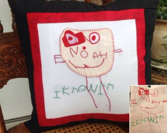 Kids Artwork Self Portrait Pillow Cover Custom Made From A Drawing