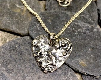 Silver heart necklace, Heart necklace silver, Silver heart pendant, Sterling silver heart, Ooak necklace, Rustic silver pendant
