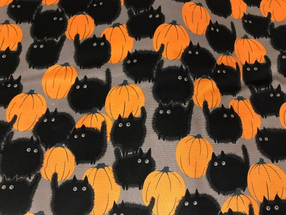 Belindau0027s Big Kitty Black Cat Halloween Fabric, Cat Fabric, Pumpkin Fabric,  Halloween Night, Alexander Henry From TheBlushingIris On Etsy Studio