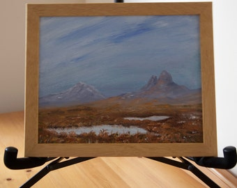 """Original Framed Oil Painting of Suilven and Canisp, Scottish Highlands Size is 10"""" x 8"""" oil on canvas board, gift, mountain art, wall art."""