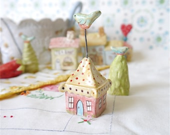 Miniature Ceramic House, Honeysuckle Pink with Yellow and Red Polka Dot Roof and Tiny Bluebird