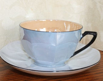 Blue Lustreware Tea Cup & Saucer Made in Czechoslovakia by Victoria China- Mid Century