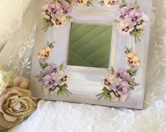 Shabby Lavender Mirror, Painted Mirror, Victorian pansies, shabby cottage chic, shabby wall art, bathroom mirror, nursery mirror, Fanny Pipp