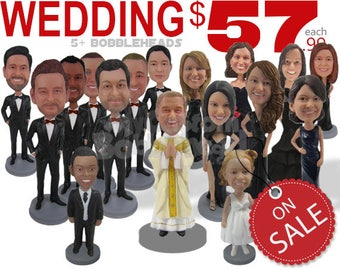 Wedding Custom Bobbleheads and Personalized Bobbehead, Bobble Head Gift, Groomsman Bobblehead and Bridesmaid Bobblehead, Custom Cake Toppers