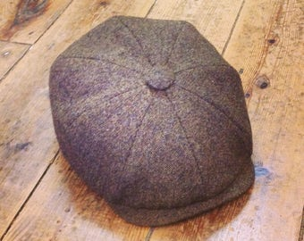 Mister Miller - ALBERT - Brown Donegal Style - Lambswool Tweed Newsboy Cap - Peaky Blinders Style - Mens Wool Cap - All Sizes