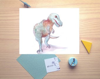 T-rex, watercolor illustration, tyrannosaur, print, dinosaur, nursery room, baby gift, wall decor, boy gift, girl gift, kid room, kid decor
