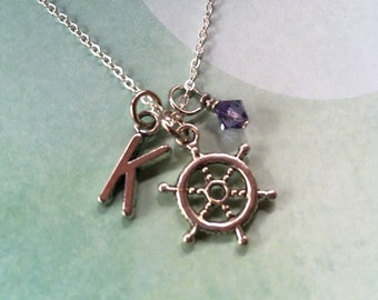 Ship's Wheel Necklace with Initial and Birthstone