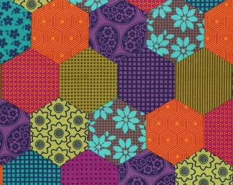 SALE! UK Shop: Elephant Romp Patchwork Hexagons Michael Miller Cotton Fabric 50 cm and Fat Quarter