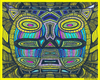 Abstract Art Digital Download: Cat-Faced