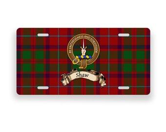 Shaw Scottish Clan Tartan Crest Novelty License Plate