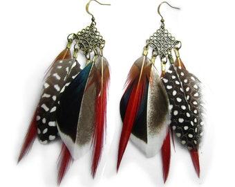 Boucle d'oreilles plumes naturelles, esprit nature, chic et élégante.