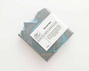 Moonlit Man Cold Process Soap - Powdery Sweet Scent - Activated Charcoal - Vegan - Natural Handmade Artisan Soap - Men Soap - Gift for him