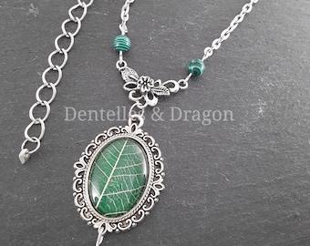 Green leaf, natural leaf necklace