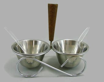 Stainless Steel and Teak Condiment Set  Rostfritt Sweden, MCM Condiment Server in Holder with Spoons, Danish Modern Serving Set