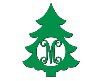 Unfinished Wood Christmas Tree Vine Monogram style #T03 - 22 inch tall