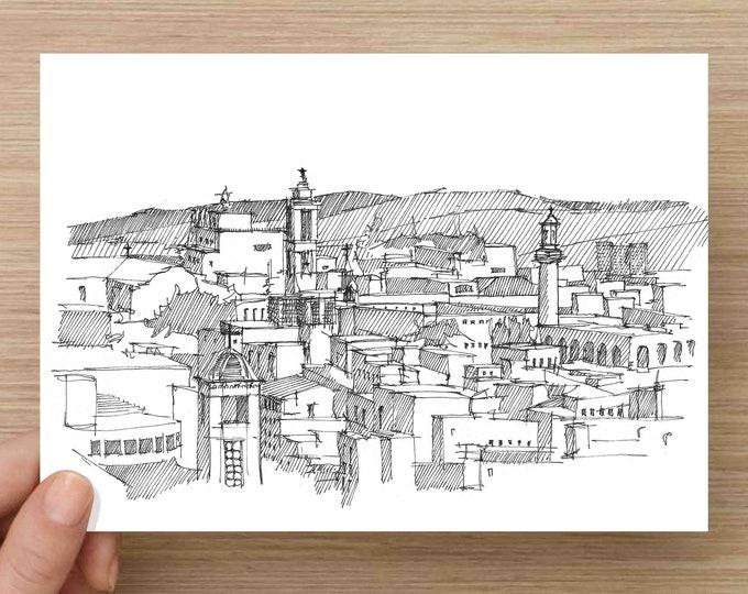 Ink Sketch of Jerusalem skyline  - Holy City,  Drawing, Art, Pen and Ink, Architecture, 5x7, 8x10, Prints