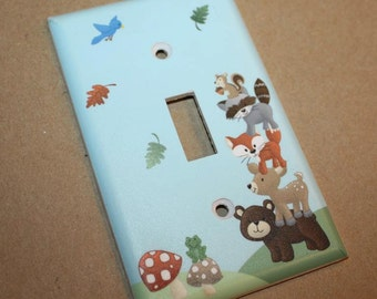 Forest Animal Woodland Friends Stacked Forest Critters Boys Bedroom Baby Nursery Single Light Switch Cover LS0021