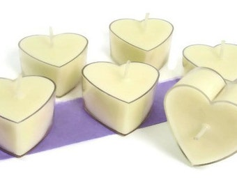 6 Lavender Tealight Candles | Heart Candles | Soy Candles | Luxury Candle | Wedding Candles Decor | Scented Tea Lights | Home Decor | Gift