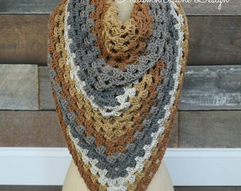 Handmade Crochet Granny Stitch Oversized Triangle Scarf - One Size
