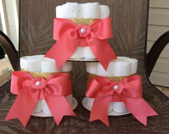 Coral and gold mini diaper cakes set of 3/Set of 3 neutral mini diaper cakes/Coral and gold baby shower centerpieces.