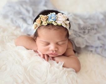 Mini Estelle Newborn Floral Crown • Blue Flower Crown • Newborn Tie Back • Newborn Photo Prop | READY TO SHIP