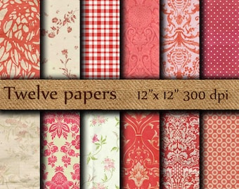"""Red digital papers: """"RED DAMASK"""" red ornaments , stripes , red floral , decoupage paper , red wallpaper"""
